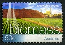 Biomass Energy Australian Postage Stamp. AUSTRALIA - CIRCA 2004: A used postage stamp from Australia, promoting Biomass Energy - a renewable energy source, circa stock photo