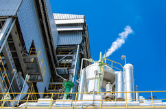 Biomass energy plant. Modern energy plant in Thailand, using wood chips as a renewable form of energy production royalty free stock photo
