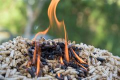 Biomass in fire. Pile of fir biomass formed in pellets royalty free stock image