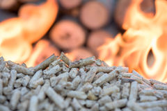 Biomass in flame. Wooden Biomass in flames infront wall of wood royalty free stock image