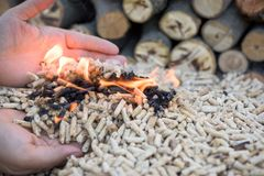 Biomass in flames. Female hans with biomass in flames royalty free stock image