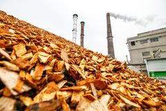 Biomass energy factory. Biomass is an industry term for getting energy by burning wood, and other organic matter royalty free stock images