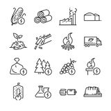 Biomass line icon set. Included the icons as energy, fuel, renewable, turbine, power plant, waste and more. Stock Image