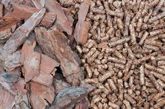 Biomass- material and pellets Royalty Free Stock Image
