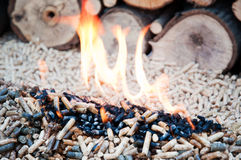Biomass. Pellets in flames- stock photo Stock Images