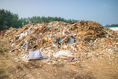 Biomass from wood waste, pelets, woodchip Stock Image