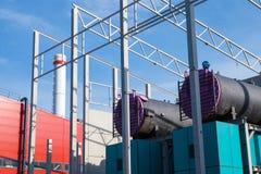 Biomassekessel Stockfoto