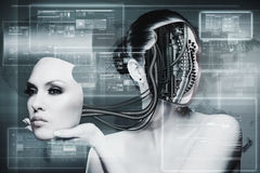 Biomechanical kvinna Arkivbild
