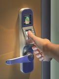 Biometric access. Fingerprint used as an identification method on a door lock. Digital illustration