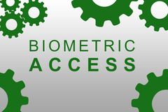 Biometric Access concept. BIOMETRIC ACCESS sign concept illustration with green gear wheel figures on gray background Royalty Free Stock Images