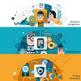 Biometric Authentication Banners. Biometric authentication horizontal banner set with privacy protection and recognition elements  vector illustration Royalty Free Stock Photos