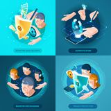 Biometric Authentication Isometric Icons Square. Biometric recognition authentication data security and privacy protection concept 4 isometric icons square Stock Image