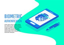 Biometric authentication methods isometric. Biometric authentication. Flat 3d web isometric contract signature infographic concept vector Royalty Free Stock Image