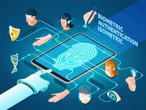Biometric Authentication Methods Isometric Composition. With mobile device fingerprint identification dna match  and facial recognition vector illustration Royalty Free Stock Image