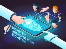 Biometric Authentication Methods Isometric Composition. Poster with fingerprint scanning signature hand geometry and facial identification vector illustration Royalty Free Stock Photo