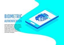 Biometric authentication methods isometric. Biometric authentication. Flat 3d web isometric contract signature infographic concept vector Stock Photography
