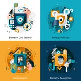 Biometric Authentication Set. Biometric authentication design concept set with privacy protection data security and recognition flat icons isolated vector Royalty Free Stock Photography
