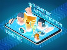 Biometric Authentication Smartphone Isometric Composition. Biometric user identification secure methods isometric composition on smartphone screen with eye face Royalty Free Stock Photo