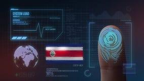 Biometric avläsande IDsystem för fingeravtryck Costa Rica Nationality vektor illustrationer