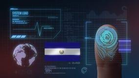 Biometric avläsande IDsystem för fingeravtryck El Salvador Nationality royaltyfri illustrationer