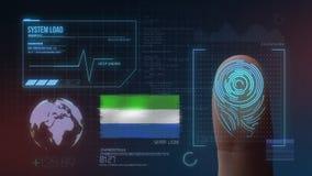 Biometric avläsande IDsystem för fingeravtryck Toppig bergskedja Leone Nationality arkivfoto