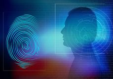 Biometric electronic system for human identification. Background with man face in profile silhouette and fingerprint. Possible use in medical, governmental and