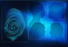 Biometric electronic system for identification of individual identity. Background with faces of people man and woman in profile si. Possible use in medical stock image