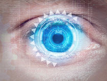 Biometric eye scan. Closeup of human eye biometric scan royalty free stock photography