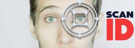 Biometric eye scan identification close up isolated stock images