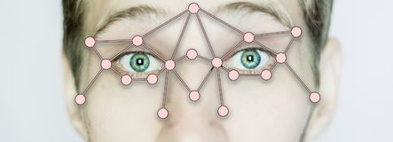 Biometric eye scan identification close up isolated stock photo