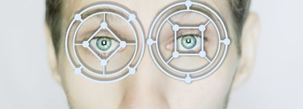 Biometric eye scan identification close up isolated royalty free stock images