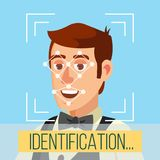 Biometric Face Identification Vector. Human Face With Polygons And Points. Safety Scan Illustration. Face Recognition, Mobile Identification Vector. Electronic Stock Images