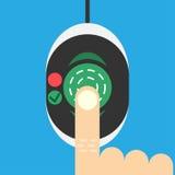 Biometric fingeravtryckbildläsare på plan stil Arkivbild
