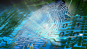 Biometric fingerprint-based identification. Method for uniquely recognizing humans based upon fingerprint traits Stock Photo