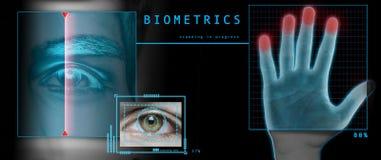 Security scan. Biometric fingerprint and retina scan Stock Images