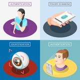 Biometric ID 2x2 Design Concept. With finger scanning face and voice authentication identification by eye iris isometric icons vector illustration Stock Images