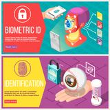 Biometric ID Horizontal Banners. With retina recognition, access control by facial geometry and fingerprint isolated vector illustration Stock Photography