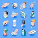Biometric ID Isometric Icons. Set of face recognition identification by eye iris fingerprint unlock isolated vector illustration Stock Images