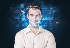 Biometric ID och ansiktsbehandlingerkännande royaltyfri foto