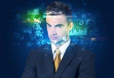 Biometric ID och ansiktsbehandlingerkännande arkivfoto