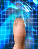 Biometric Identification. Close-up of a fingerprint and a thumb conceptual photo-illustration. Biometric identification, security, safe access, fingerprint Stock Photo