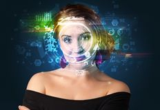 Biometric identification and Facial recognition. System concept stock photography