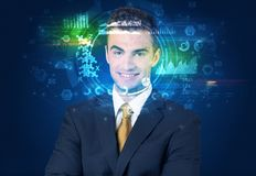 Biometric identification and Facial recognition royalty free stock image