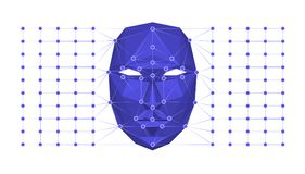 Biometric identification or Facial recognition system concept. Vector illustration. Royalty Free Stock Images