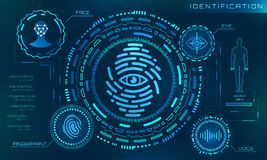 Biometric Identification Personality, Scanning Modern Access Control, Technology Recognition Authentication. System Concept - Illustration Vector Royalty Free Stock Images