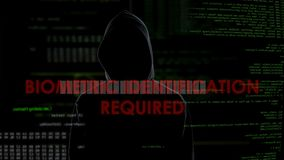 Biometric identification required, unsuccessful hacking attempt on account. Stock footage stock footage