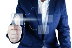 Biometric identitet för affärsmanbildläsningsfingeravtryck med tom ask I royaltyfria bilder