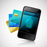 Biometric Mobile Payment. Concept with realistic smartphone with fingerprint login application and credit cards set vector illustration Stock Images