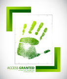 Biometric palm scanning screen with access granted. Text illustration design Royalty Free Stock Image