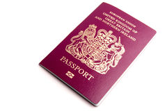 Biometric Passport. A UK biometric passport isolated on a white background royalty free stock images
